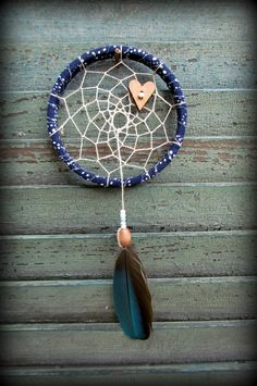mini dream catcher bubbles navy blue macaw by wingedwhimsy
