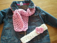 crocheted scarf and headband with button for removable bows, flowers, etc. I made for my granddaughter.