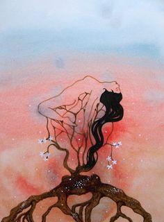 Nirvána by Lady Lu * Nirvana Art, Artworks, Moose Art, Watercolor, Lady, Drawings, Interior, Painting, Animals