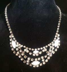 Vintage Clear White Milk Glass Rhinestone Necklace Prom Adjustable Prong Set