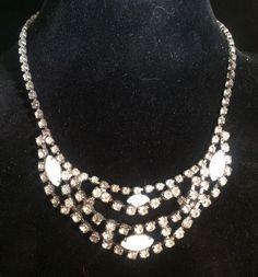 Vintage Clear White Milk Glass Rhinestone Necklace Prom Adjustable Prong Set