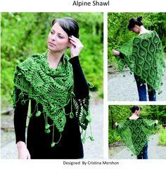 Alpine shawl, free pattern via FB.