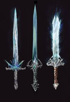 the one in the middle is ok. crystals on the left one would break easily. the sword on the right has a really weird guard and sacrifices its piercing ability for looking cool. but now it doesn't look functional. Fantasy Sword, Fantasy Weapons, Fantasy Rpg, Medieval Fantasy, Ice Sword, Cool Swords, Sword Design, Armadura Medieval, Anime Weapons
