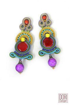 Authentic Dori Csengeri Euphoria Haute Couture Bold Enamel Earrings Hand Made
