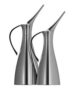 Dress up your EVOO. Sleek decanters really work with a skinny spout that helps control your pour. Go With The Flow oil cans, $60 - $70 each.