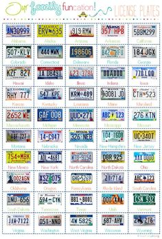 Car trip activity from iheartorganizing -- a printable to make the license plate game even easier. (Plus a fun way to learn all 50 license plates!)