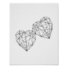 Minimalist Decor Geometric Hearts Wall Art