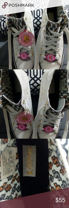 "Awesome ?? ""DADDY'S MONEY$"" Secret Wedge Ankle high laced front Sneakers / White w/Star design DADDY'S $ MONEY Shoes Wedges"