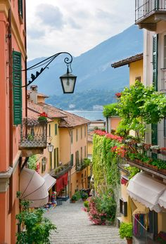 Picturesque small town street view in Bellagio, Lake Como in Italy
