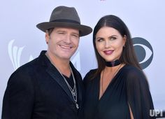 Recording artist Jerrod Niemann (L) and Morgan Petek attend the 52nd annual Academy of Country Music Awards held at T-Mobile Arena in Las…