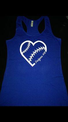 I Love The Dodgers Heart Tank Women's Shirt Baseball LA Go Blue Custom by RKCreativeImpression