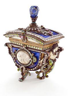 A Viennese enameled, lapis clad and jewel-mounted covered jewelry box,  19th century.