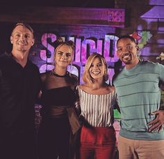 Suicide Squad: Joel Kinnaman, Cara Delevingne, Margot Robbie, and Will Smith (photo via Joel's Instagram)