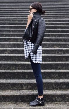 Street-style-plaid-shirt-black-boot