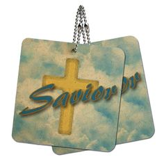 Savior Cross and Clouds Religious Inspiration Wood MDF 4' x 4' Mini Signs Gift Tags >>> Visit the image link more details.