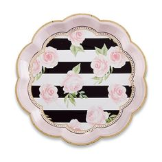 Floral Striped 9 in. Paper Plates (Set of Cut cleaning out of your wedding duties with stylish disposable Floral Striped Paper Plates that make a bold statement. These striped paper plates are large enough to serve as dinnerware and elegant enoug Floral Paper Plates, Kate Aspen, Paris Party, Paris Theme, Disposable Tableware, Tea Party Birthday, 30th Birthday, Party Plates, Pink Ring