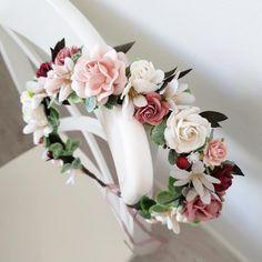 Coffee Wedding Dresses, Mini Wedding Dresses, Wedding Veils, Burgundy Flowers, Blush Flowers, Pastel Flowers, Boho Headpiece, Flower Headpiece, How To Make Paper Flowers