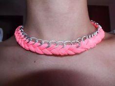 Collar trenzado con cadena, los vendo en mi facebook: collares de trapillo, por encargo