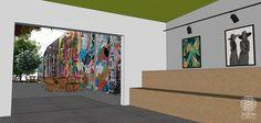 O acesso ao quintal é realizado pela galeria, de onde já se pode observar um enorme paredão grafitado por vários artistas. Uma verdadeira obra de arte ao ar livre!