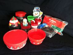 Christmas Party Lot Candy Jars Bowls Cups Plate Paper Streamers Penguin Santa
