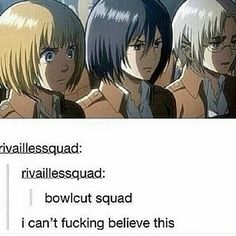"I think technically only Armin has a true bowlcut, whereas Mikasa and the other woman just have short hair. Still, as a Levi × Eren fanfic meme put it, Armin is the ""BLOND COCONUT. Armin, Mikasa, Levi X Eren, Levi Ackerman, Attack On Titan Funny, Attack On Titan Anime, Ereri, Death Note, Tokyo Ghoul"