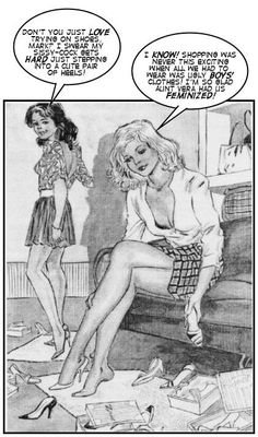 Dani's Art Archive — art by Juan Puyal, dialogue by me Transgender Comic, Transgender Captions, Transgender Girls, Transgender Pictures, Feminization Stories, Captions Feminization, Prissy Sissy, Sissy Boy, Male To Female Transformation