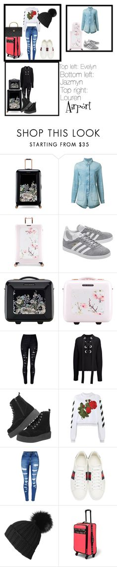 """""""Airport Fashion"""" by hannah-amara on Polyvore featuring Ted Baker, Ksubi, adidas Originals, Joseph, Off-White, WithChic, Gucci, Black and Chanel"""