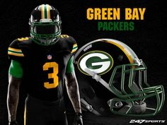 Some football fans love black jerseys, while others hate them. If you're the latter, these uniform designs may just change your mind. Packers Football, Football Fans, Football Stuff, College Football, Football Jerseys, Football Helmets, Ohio State Helmet, Nfl Uniforms, 32 Nfl Teams