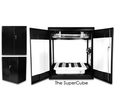 Supercloset Supercube 400watt Grow Box Cabinet System Odor controlled by a carbon filter on the inside. All other grow components including nutrients, Ph Kit, TDS tester, rockwool and hydroton rocks.