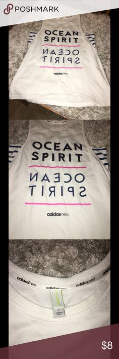 Adidas Neo Ocean Spirit Tank Top Large Ocean Spirit mirror image graphic tank top.  From Adidas Neo.  Size large.  Baggy fit.  Good condition.  Important:   All items are freshly laundered as applicable prior to shipping (new items and shoes excluded).  Not all my items are from pet/smoke free homes.  Price is reduced to reflect this!   Thank you for looking! Adidas Tops Tank Tops
