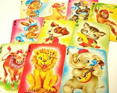 Vintage - Playing Cards - 10 Retro Alphabet Cards with Dancing Circus Animals