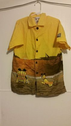 Walt Disney World kid's Boys Beach Themed Mickey Mouse Button Down Med Shirt #Disney #Everyday