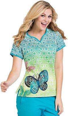 "Amazon.com: Ladies' Print Notch Neck Scrub Top ""Natasha"" by Peaches Uniforms XS, Celestial Wonders: Clothing"