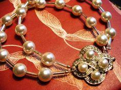 Vintage Rhinestone Wedding Bracelet Art Deco Bridal by kzannoart, $35.00