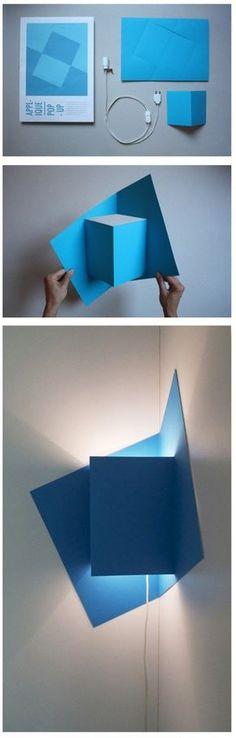 coprilampada angolo in carta azzurra