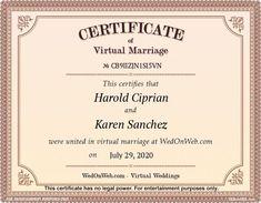 Certificado de matrimonio - Bodas virtuales para divertirse por WEDonWEB. Weddings, Personalized Items, Maria Clara, Maria Theresa, Goncalves, Holi, Place Card Holders, Harry Styles, Harry Edward Styles