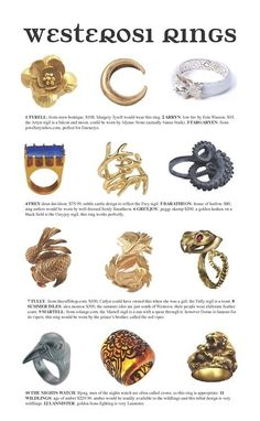 #got #agot #asoiaf rings from westeros - love the Targaryen ring and quite like the greyjoys