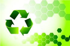 recycling sign on environmental Background vector art illustration