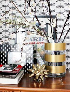 Hi Sugarplum | DIY Gold Stripe Vase...simplest thing EVER!