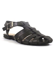 Another great find on #zulily! Black Bubble Leather Sandal #zulilyfinds