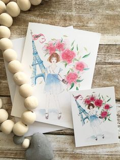 Note card + matching gift tag of girl in vintage dress, flowers & Eiffel tour! love of Paris Watercolor Cards, Watercolor Illustration, Matching Gifts, Sell On Etsy, White Envelopes, Note Cards, I Card, Gift Tags, Vintage Dresses