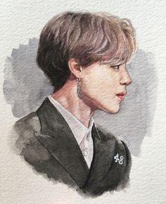 'Jimin - watercolour portrait' Poster by forinfinity Jimin Fanart, Kpop Fanart, Fan Art, Watercolor Portraits, Watercolor Art, Kpop Drawings, Korean Art, Bts Jimin, Art Sketches