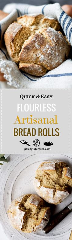 Best ever flourless artisanal bread rolls! Easy homemade paleo bread rolls. Best gluten free bread recipe. Soft, grain free bread roll. Paleo diet recipes for beginners.