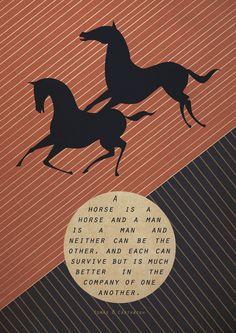 Original Design Japanese Horse Quote A3 Poster Art Deco Bauhaus Print Vintage Vogue Horses Animals Modern Style Zen