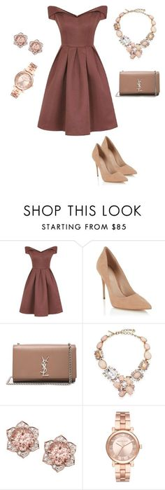 """Untitled #68"" by fatimaka on Polyvore featuring Chi Chi, Lipsy, Yves Saint Laurent, Oscar de la Renta and Michael Kors"