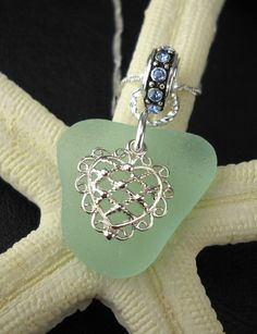 Blue Sea Glass Jewelry Necklace With Heart
