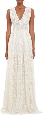 Sophia Kah Lace V-neck Corset Gown at Barneys New York