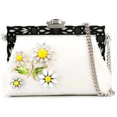 Dolce & Gabbana 'Vanda' clutch ($2,725) ❤ liked on Polyvore featuring bags, handbags, clutches, white, white handbags, chain handle handbags, dolce gabbana purse, white clutches and daisy handbag