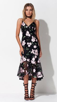 Mossman The Illusion To the Eye Dress In Black & Rose