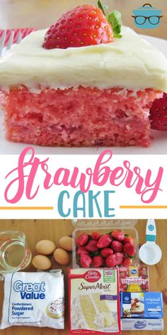 This Easy Fresh Strawberry Cake starts with a boxed cake mix, strawberry jell-o,. This Easy Fresh Strawberry Cake starts with a boxed cake mix, strawberry jell-o, fresh strawberries and is topped with cream cheese frosting! Fresh Strawberry Cake, Strawberry Cake Recipes, Strawberry Frosting, Recipes With Strawberries, Strawberry Cream Cheese Dessert, Strawberry Cake From Scratch, Strawberry Cake Mix Cookies, Strawberry Birthday Cake, Homemade Strawberry Cake